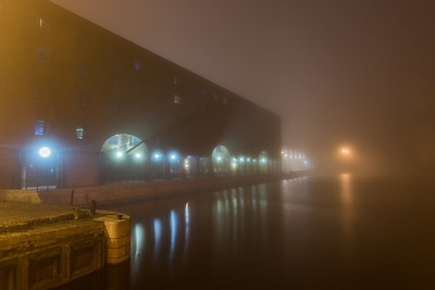 Titanic Hotel, Stanley Dock, Regent Rd, Liverpool in the fog at night
