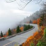 Linn Cove Viaduct on foggy autumn morning,.