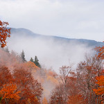 Beautiful foggy fall mountain landscape.