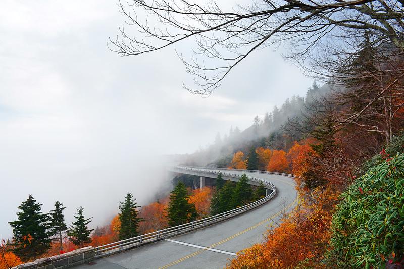Linn Cove Viaduct on foggy autumn morning,