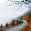 Linn Cove Viaduct on foggy autumn morning,