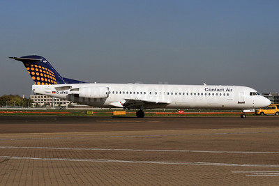Contact Air Flugdienst Fokker F.28 Mk. 0100 D-AFKD (msn 11500) (Lufthansa Regional colors) LHR. Image: 927030.