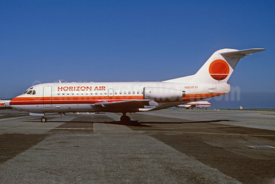 Horizon Air Fokker F.28 Mk. 1000 N801PH (msn 11097) SEA (Bruce Drum). Image: 102990.