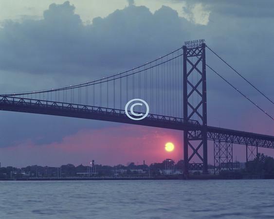 Sunset, Ambassador Bridge, Detroit, Michigan