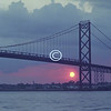 Sunset, Ambassador Bridge, Detroit, Michigan