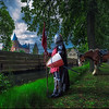 Knight of the Laughing Tree | Medieval Image with Castle and Knight on a Horse Watching a Beautiful Tree Kasteel Heeswijk in een Ander Licht met een Verhaal over een Ridder die Reist in de Tijd Giant Panorama Photography of a Knight Travelling Through Time on a Never Ending Adventure