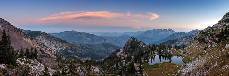 A Silver Sunset in the Wasatch Pano 1x3