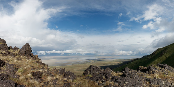Clouds on Clouds over Farmington Bay from Antelope Island Pano 1x2