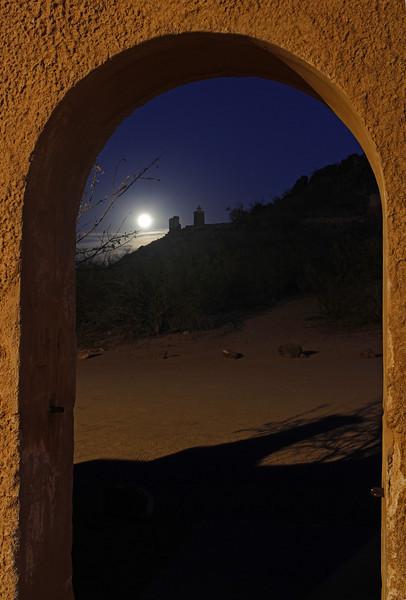 Moonlight through the gate of Mission San Xavier del Bac near Tucson, AZ (2-11)