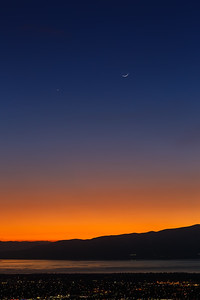Winter Twighlight over the Valley with Venus and the Cresent moon_