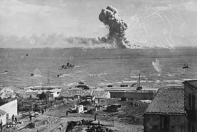 U.S. munitions ship goes up during the invasion of Sicily .