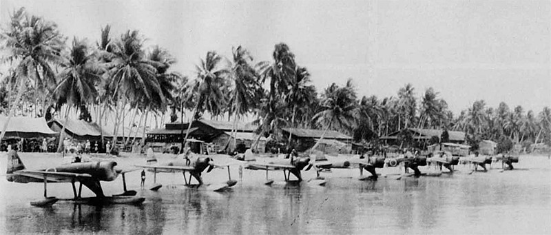 Squad of Rufe's at Bougainville . These things were very nimble even with the pontoons.
