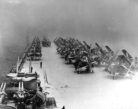 Snow on deck. The photo most likely was taken in the winter of 1951 off Korea.<br /> <br /> Info. Courtesy of Commander Robert McCarthy USN (retired)