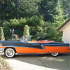56 Mercury Montclair Convertible. This car is one of our favorites.  I found what was left of it in the Spokane area and restored and drove it to Hot August Nights in Reno in 1996.  It is London Grey and Persimmon with full power and all accessories.