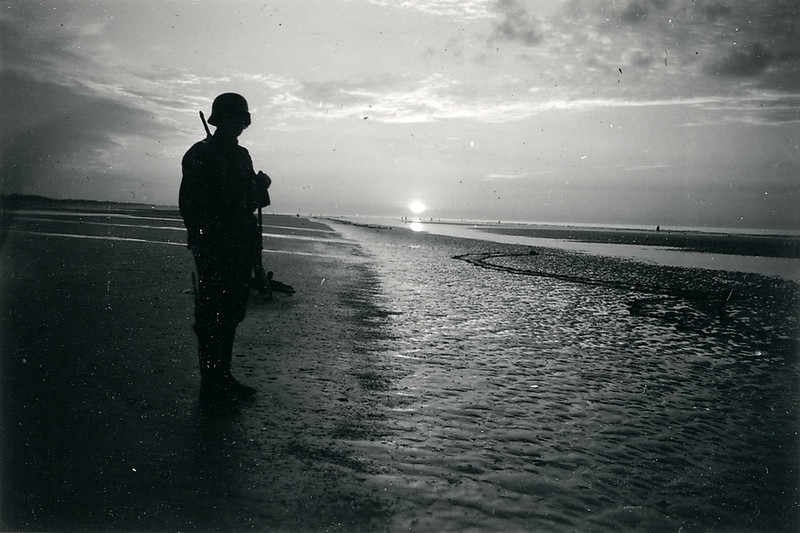 A German sentry on a beach