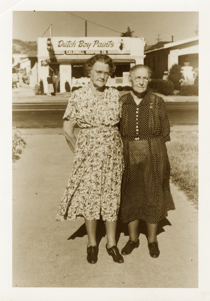 Oline (R) and Sister Mrs Halverson; Oakland, CA 1947