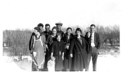 Front row: Esther, Sophie, Carl Hopland. Middle row: Cora (Hopland) Eckhoff, Marie Florey, Oline Hopland. Back row: Lewis & Emil Hopland, Henry Eckhoff