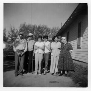Judd, Lorraine, Kathleen, Iris Wick, Grandpa Bert, Grandma Ida McCready, August 1956.