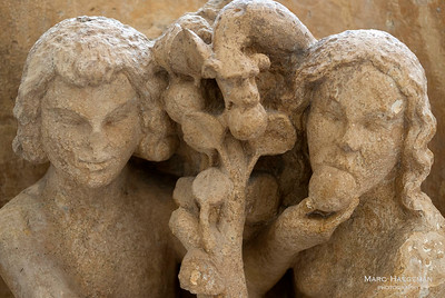 Adam and Eve (c. 1235-1240). Detail from the archivolts of the north transept, now in the Palais du Tau.