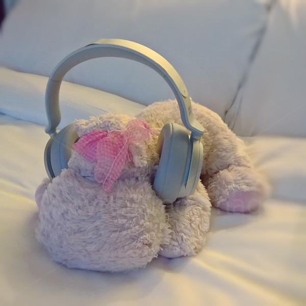 Showing off new headphones