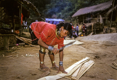 Karen Woman Cutting Bamboo