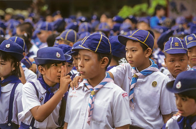 Thai Scout Girl Shushing Thai Scout Boy