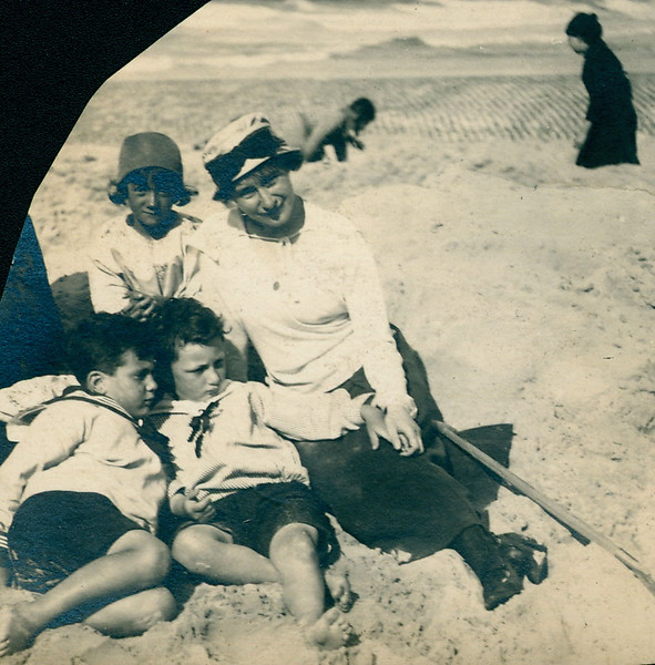 On the beach, 1920s