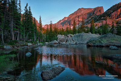 Alpenglow at Lake Haiyaha in Rocky Mountain National Park