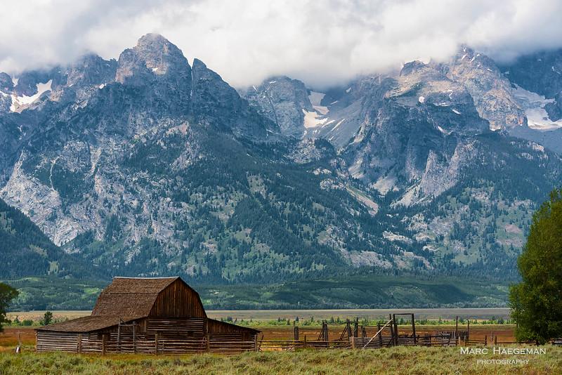 Mormon Row with the John Moulton barn in the Grand Teton National Park