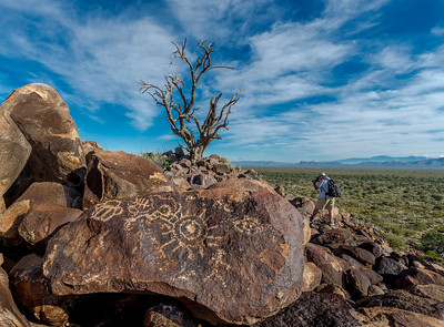 Ironwood Forest N.M. Petroglyphs #1 With Photographer