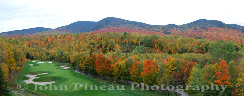 Sugarloaf USA - Panorama of the 10th Hole - tee box 120 feet above the fairway - the three tiered 11th hole tee box is on the right