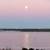Moon setting over Sebago Lake on a crisp fall morning<br /> FO_0017-DSCF5343