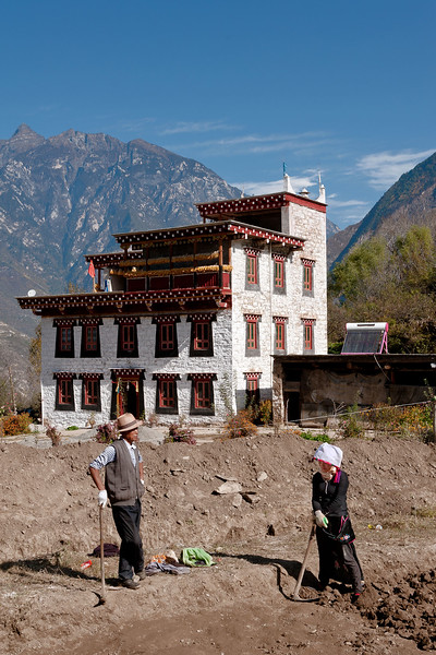 Zhonglu, Danba County, Sichuan Province. Site excavation in process to construct new facilities for  local school.