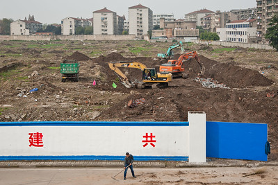 Jingzhou, Hubei Province. New public works construction commences within the old city walls of Jingzhou.