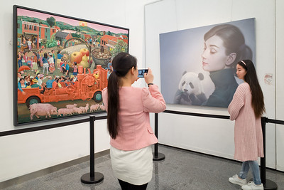 Sichuan Art Gallery, Chengdu. Paintings by Chen Shuzhong, 野草灘 (Wild Grass Reverie), and Zhang Qikai 公众人物的情感逻辑 (Emotive Logic of Celebrities).