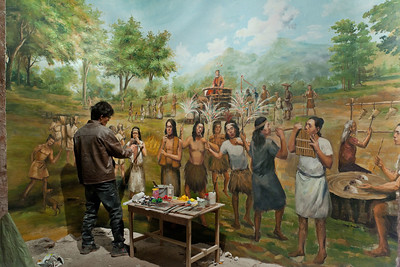 Xiangtan, Hunan Province.  In preparation for the Dec. 2015 opening of Xiangtan City Museum, a painter details a mural of the ancient civilization of the region. The Chinese government exceeded its goal of 3500 museums by 2015 when 451 were opened in 2012.
