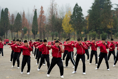 Students at Shaolin Tagou Wushu School,  Songshan, Henan Province.