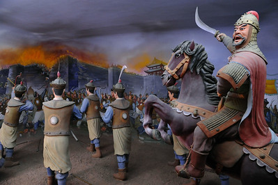 Diorama of Mongol siege of Yinchuan, Xixia Museum, Yinchuan, 2011
