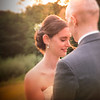 Sunset lighting wedding couple
