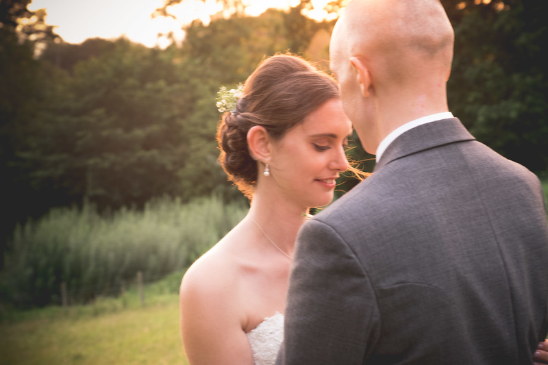 Sunset lighting wedding couple