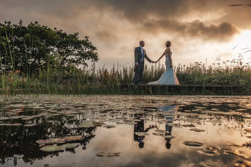Romatic reflected wedding photograph