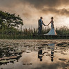 Romatic reflected wedding photograph