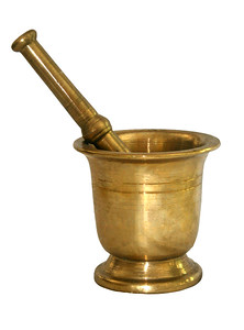 large brass mortar and pestle