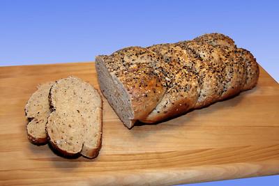 Braided, seeded whole wheat artisan bread