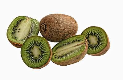 3 isolated kiwi fruit