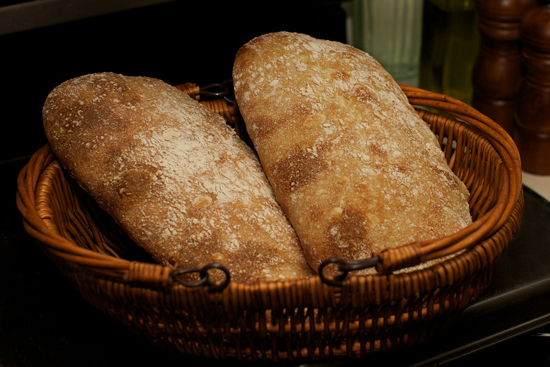 ciabatta bread (meaning slippers)