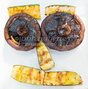Grilled mushrooms and zucchini face