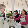 Ana Cox of Shamrock gives a volunteer something to try at the 2013 California's Artisan Cheese Festival's Cheese Tasting and marketplace on March 24th at the Sheraton Sonoma County.