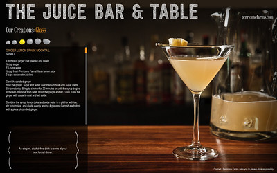Drink photography for Perricone Farms Juice Bar and Table site