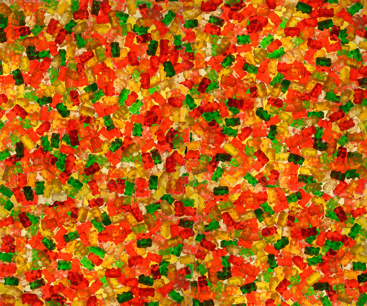 Yummy Yummy Yummy is the gummy gummy bear He's funny funny funny, but he doesn't have a care In the world so he doesn't know what money is about He's worth a million dollars, but he'll never find that out